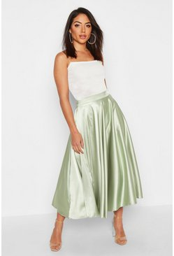 Sage Satin Full Midi Skirt