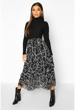 Black Mono Floral Layered Midi Skirt