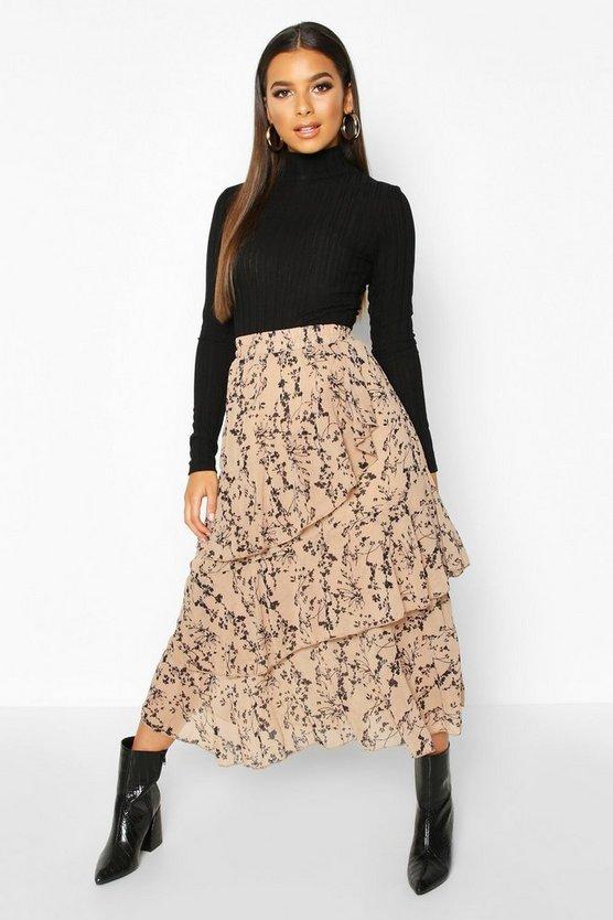 Mono Floral Layered Midi Skirt