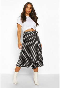 Black Polka Dot Wrap Front Midi Skirt