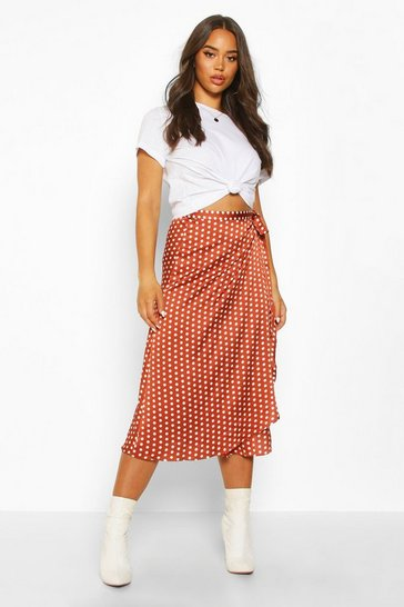 Terracotta Polka Dot Wrap Front Midi Skirt