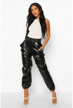 Womens Black Elasticated Waist Leather Look Jogger