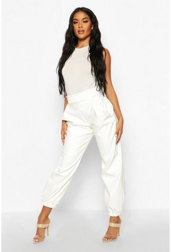 Ivory Elasticated Waist Leather Look Jogger