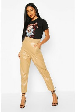 Womens Sand Leather Look Slim Fit Jogger