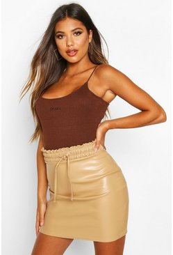 Womens Sand Elasticated Waist Leather Look Mini Skirt