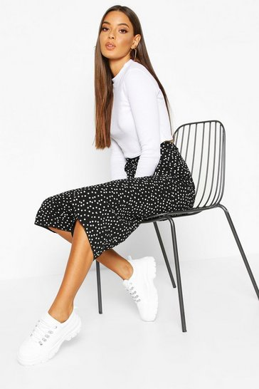 Womens Black Belted Woven Polka Dot Culottes