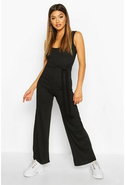 Black Ribbed Tie Waist Belted Wide Leg Jumpsuit