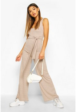 Womens Stone Ribbed Tie Waist Belted Wide Leg Jumpsuit