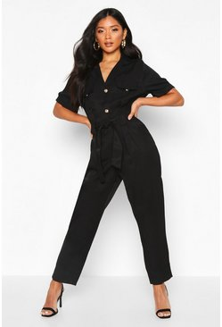Womens Black Button Front Cargo Jumpsuit