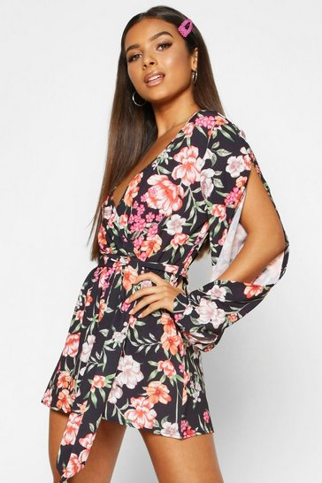 Womens Black Floral Split Sleeve Woven Playsuit