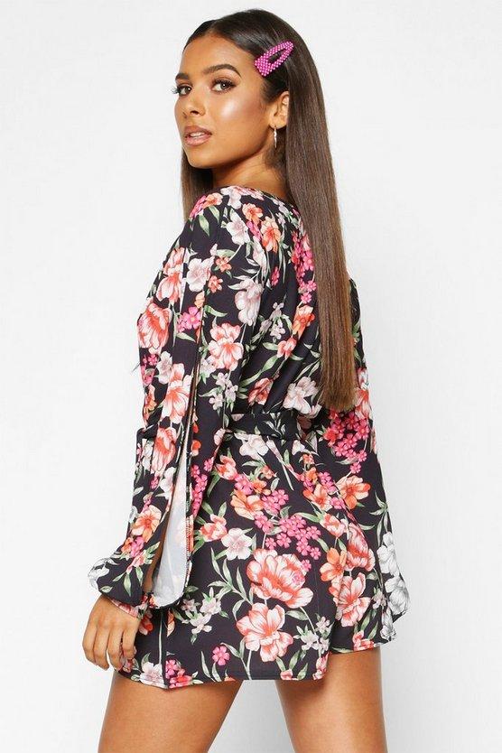 Floral Split Sleeve Woven Playsuit