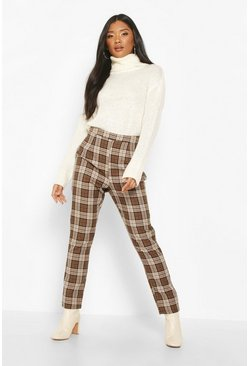 Camel Tonal Check Slim Fit Woven Trousers