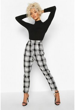 Womens Black Mono Check Slim Fit Woven Trouser