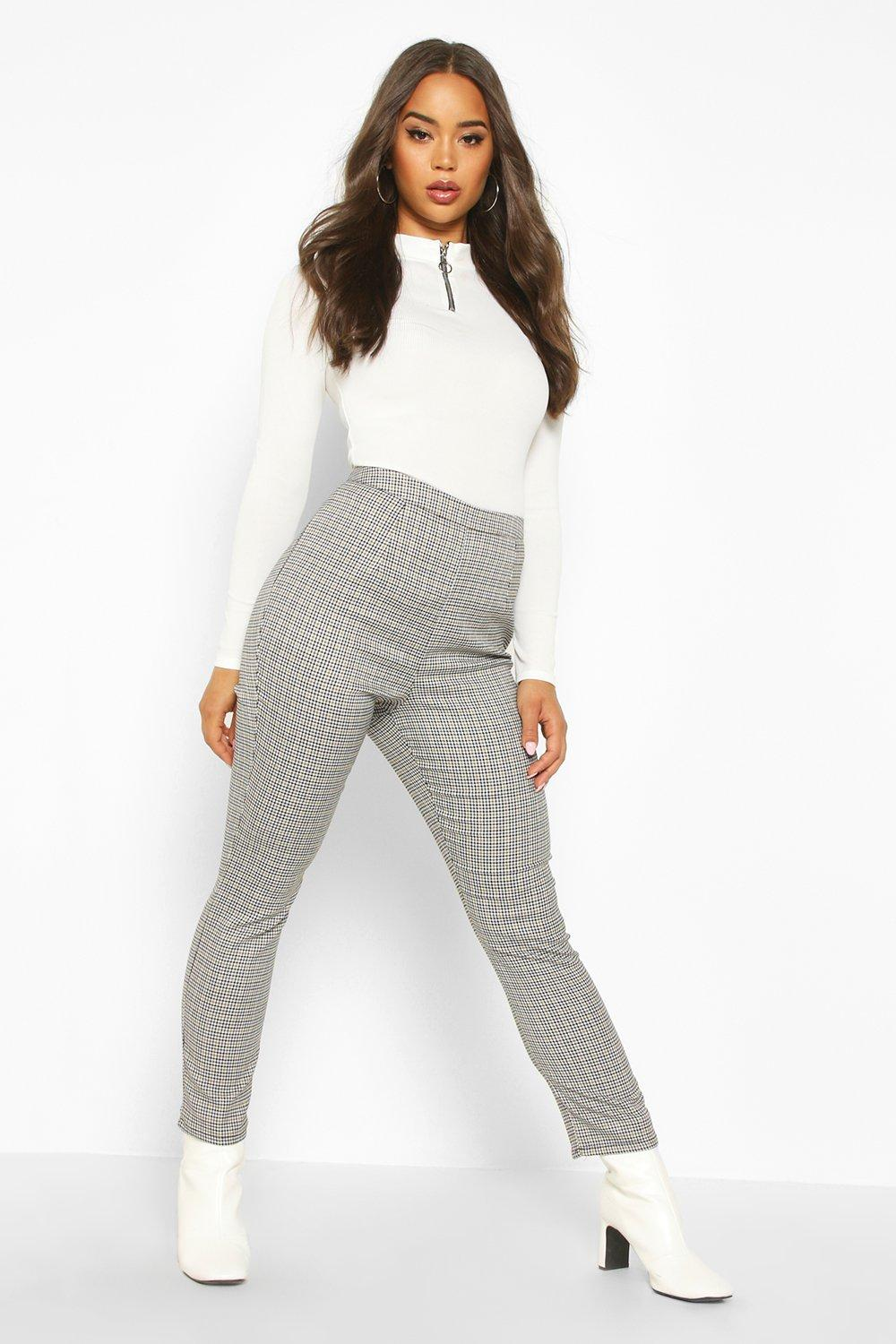 Vintage High Waisted Trousers, Sailor Pants, Jeans Mini Dogtooth Check Slim Fit Woven Trouser $25.00 AT vintagedancer.com