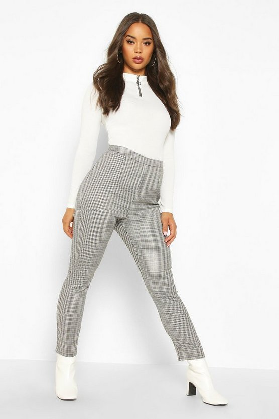 Mini Dogtooth Check Slim Fit Woven Trouser