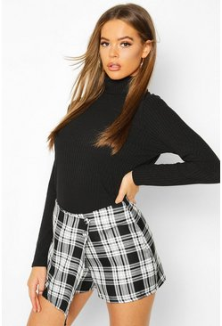 Womens Black Mono Check Woven Skort