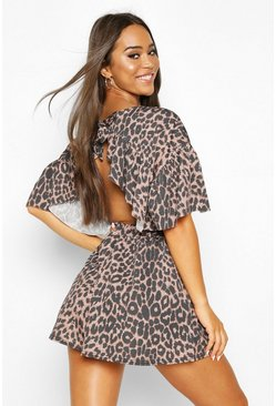 Womens Leopard Open Back Playsuit