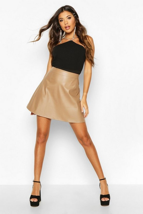 Camel Leather Look A Line Mini Skirt