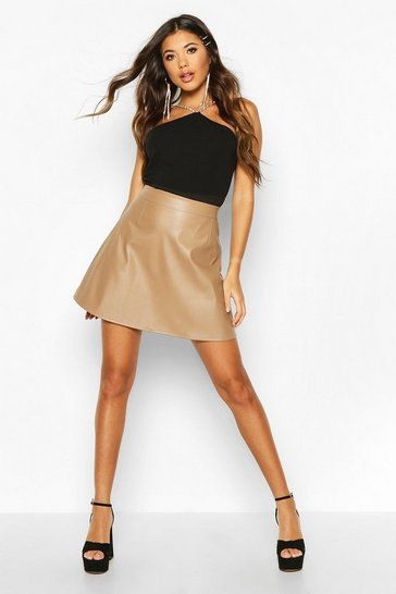 Womens Camel Leather Look A Line Mini Skirt