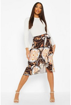 Black Chain Print Wrap Front Midi Skirt