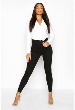 Womens Black Butt Shaper High Rise Stretch Skinny Jean