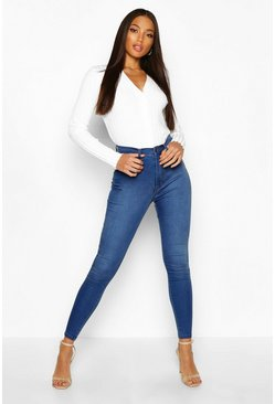Womens Mid blue Butt Shaper High Rise Stretch Skinny Jean
