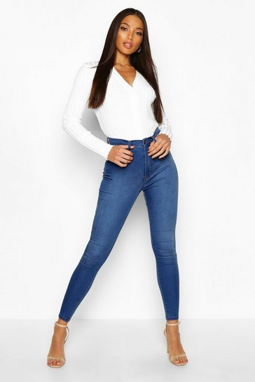 Mid blue Butt Shaper High Rise Stretch Skinny Jean
