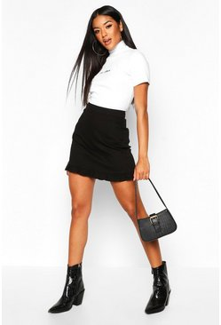 Womens Black Frill Hem Denim Mini Skirt