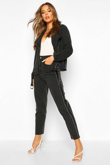 Black Contrast Side Stripe High Rise Mom Jean