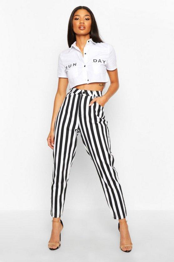 Black and White Stripe High Rise Mom Jean