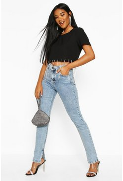 Womens Blue Acid Wash Side Slit Straight Leg Jean