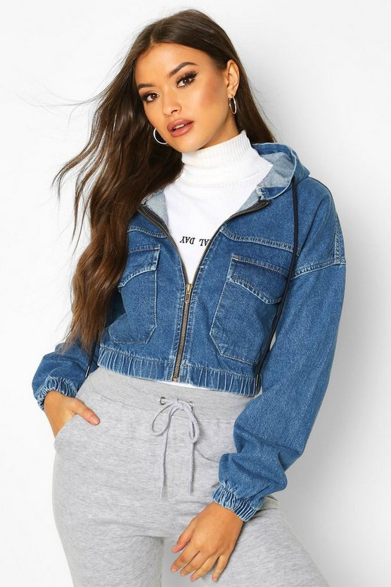 Hooded Denim Bomber Jacket