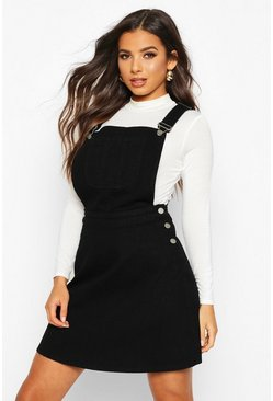 Womens Black Pinafore Denim Skater Dress