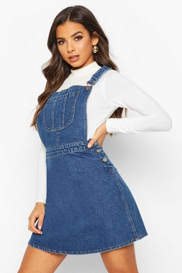 Womens Mid blue Pinafore Denim Skater Dress