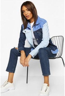 Womens Blue Colour Block Denim Jacket