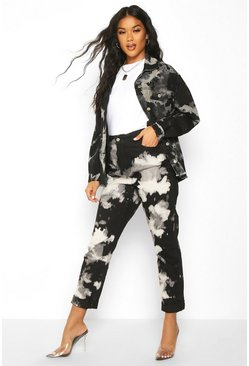 Womens Black Tie Dye High Rise Mom Jean
