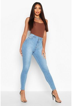 Womens Light blue Butt Shaper Stretch Skinny Jean