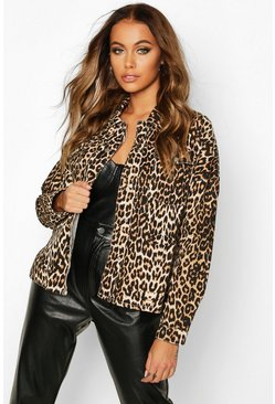 Womens Brown Leopard Print Denim Shirt