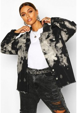 Womens Black Tie Dye Oversize Denim Jacket