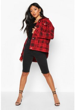 Womens Red Check Oversized Denim Jacket