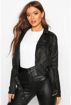 Womens Black Coated Denim Biker Jacket