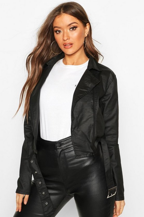 Coated Denim Biker Jacket
