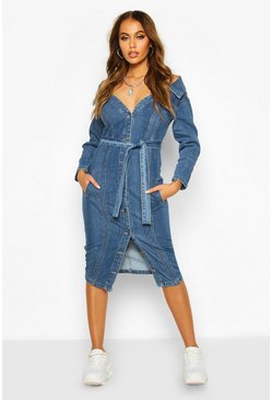 Mid blue Off the Shoulder Denim Midi Dress