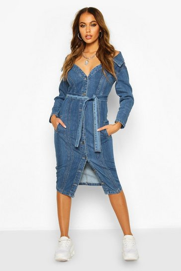 Womens Mid blue Off the Shoulder Denim Midi Dress