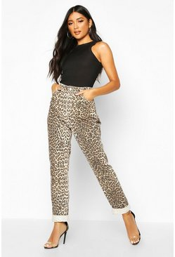 High-Rise Mom-Jeans mit Leoparden-Print, Braun