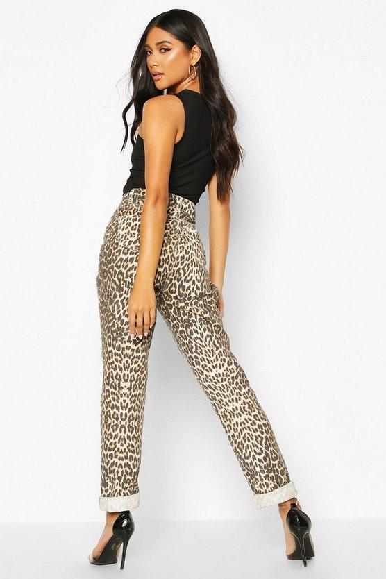 Leopard High Rise Mom Jean