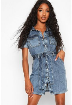 Womens Mid blue Acid Wash Belted Shirt Dress
