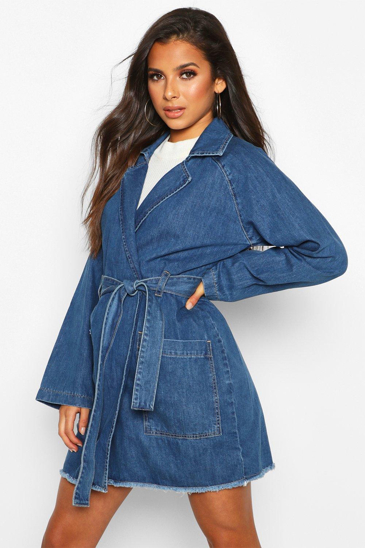 1960s Coats and Jackets Womens Longline Denim Trench Coat - blue - 8 $31.00 AT vintagedancer.com
