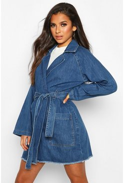 Womens Mid blue Longline Denim Trench Coat