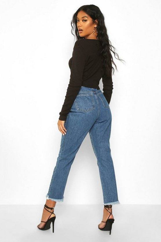 Step Frayed Hem High Rise Straight Leg Jean